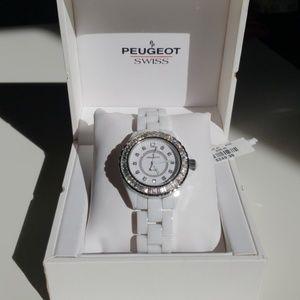 Peugeot Swiss Ceramic Watch White